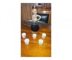 Vendo licorera de porcelana y cristal antigua 53813173-53028719